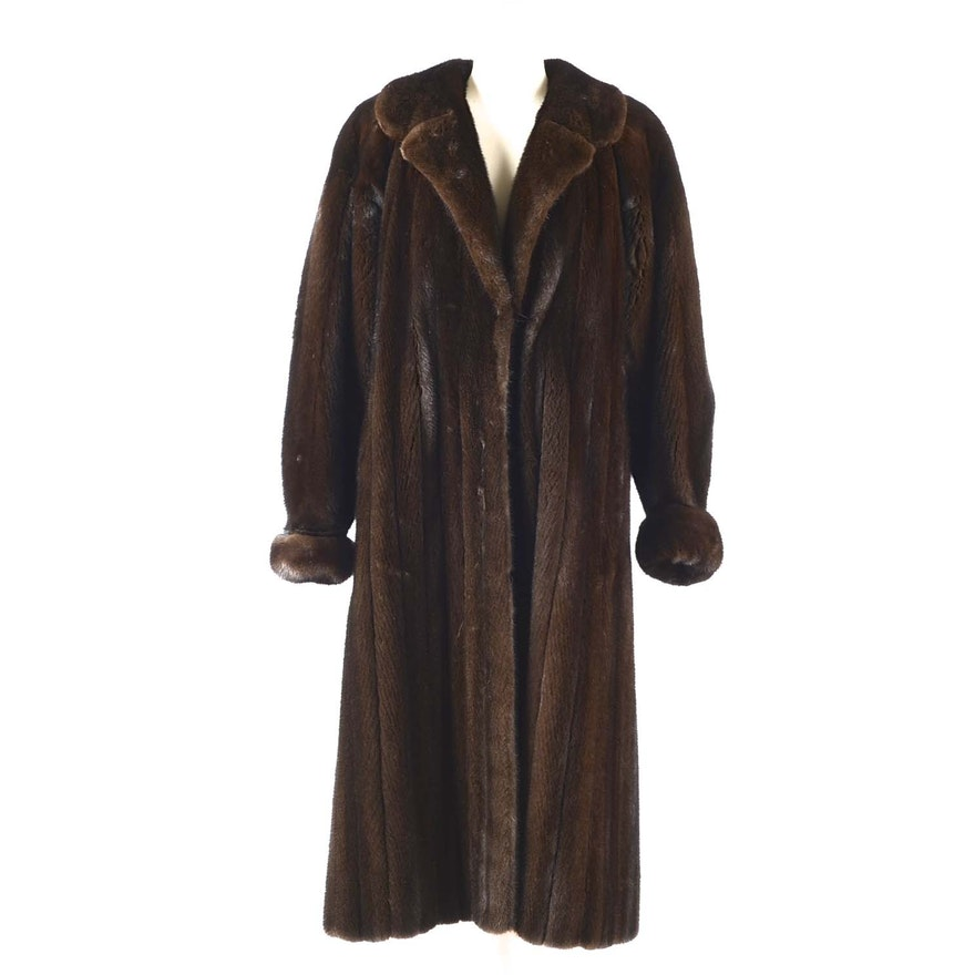 d6d1f3a11a2 Yves Saint Laurent Fourrures Full Length Natural Ranch Mink Coat : EBTH