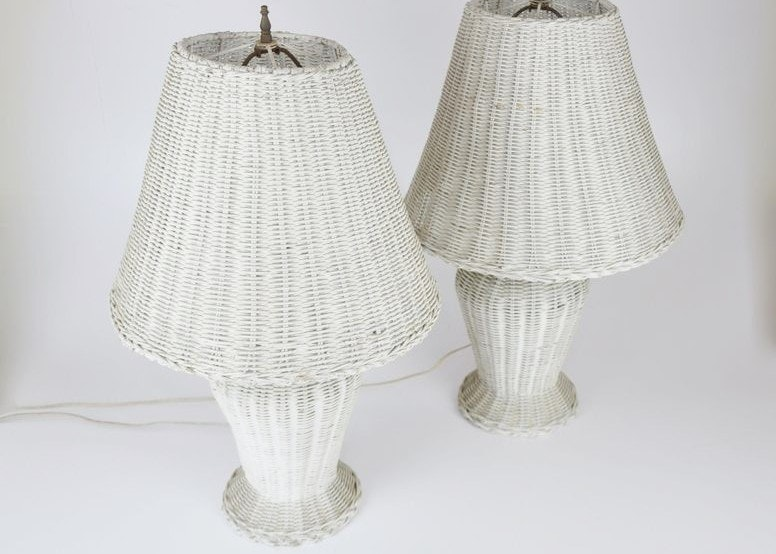 Pair Of Vintage White Wicker Table Lamps Ebth