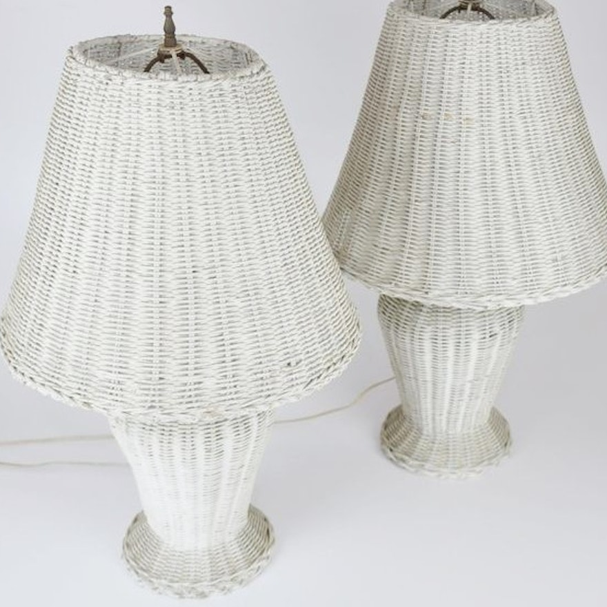 Pair Of Vintage White Wicker Table Lamps