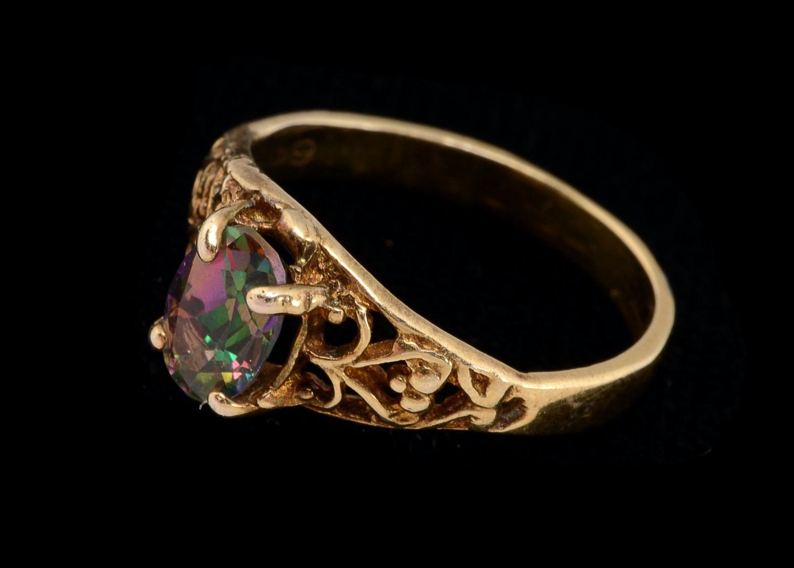 10 k yellow gold mystic topaz openwork ring ebth