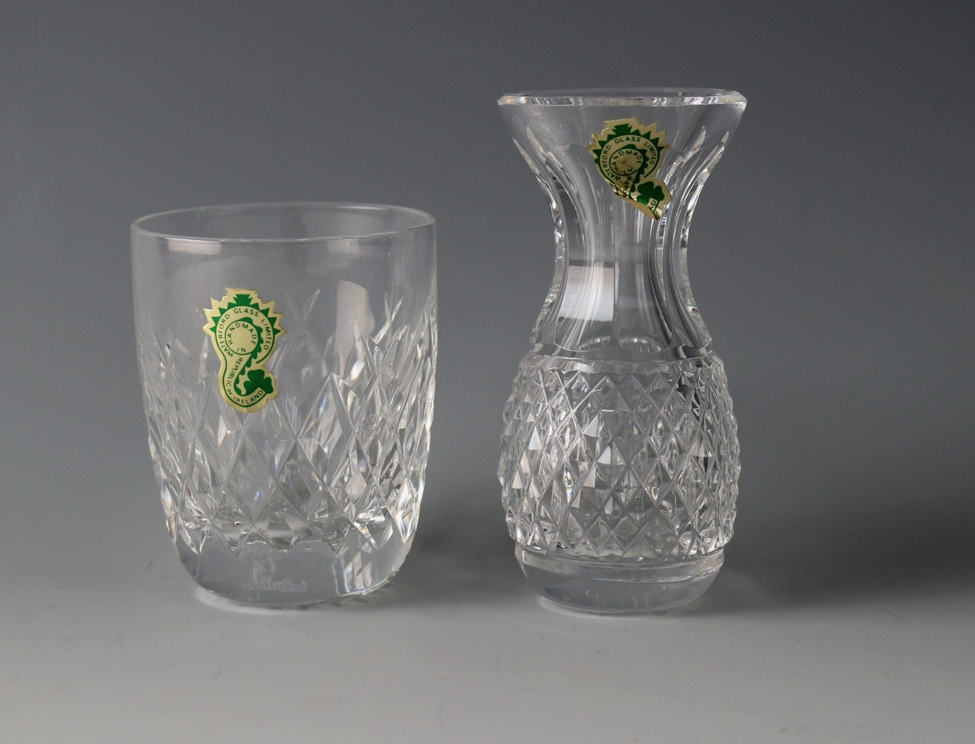 Elegant Waterford Small Crystal Bud Vase And Glass Ebth