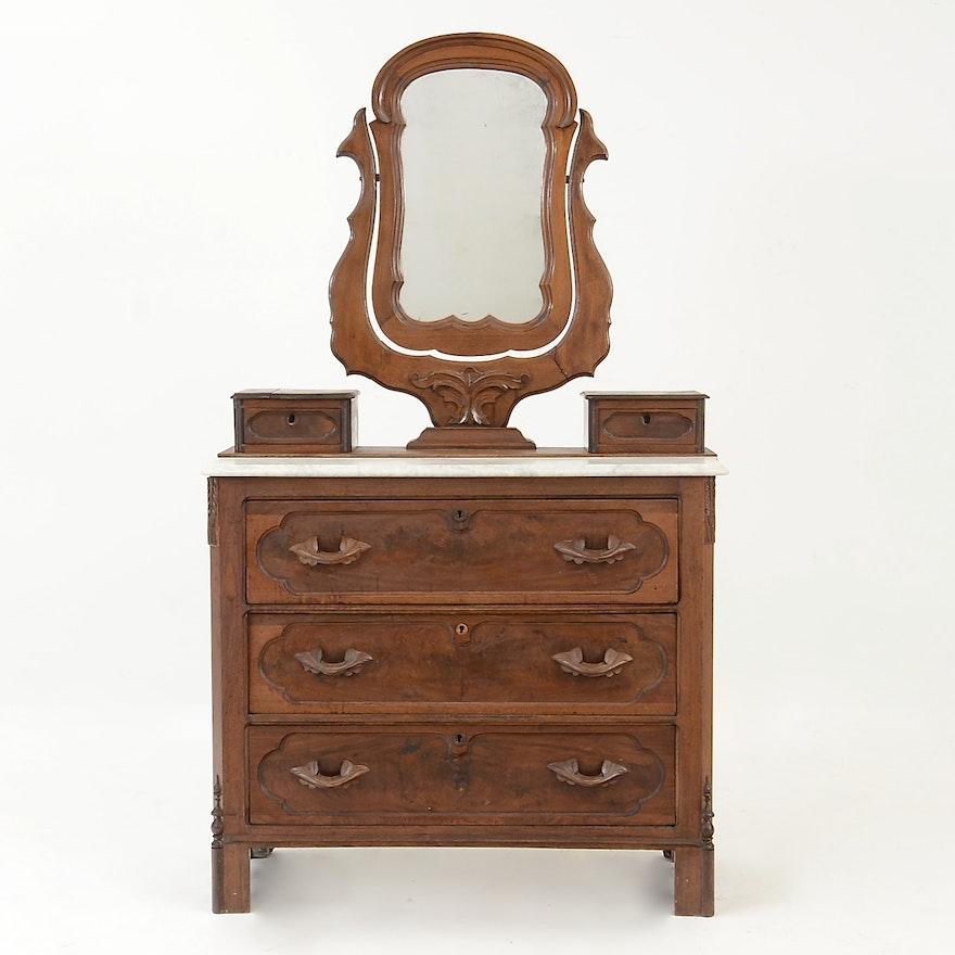 Antique Marble Top Victorian Dresser Ebth