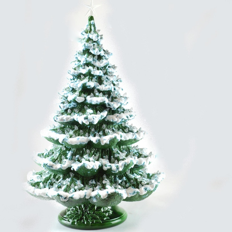 Large Ceramic Christmas Tree Shaped Lamp Ebth