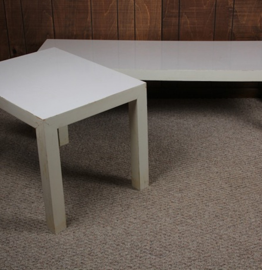 Lane White Laminate Coffee Table And End Table Ebth
