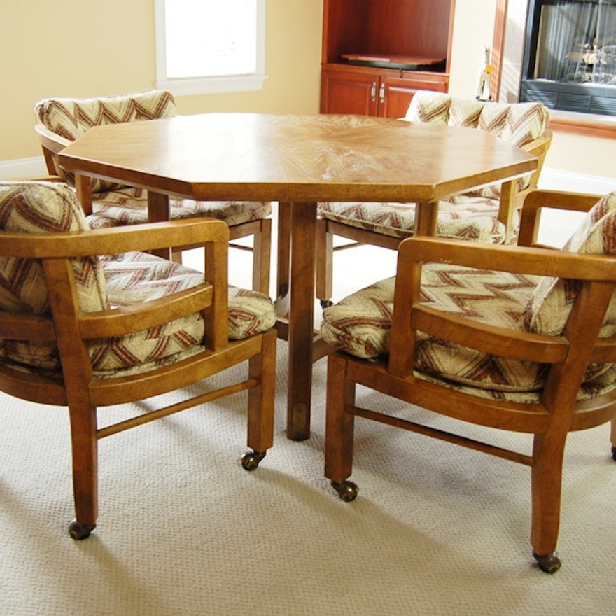 Octagon Shape Game Table And Four Chairs With Casters By Drexel EBTH - Octagon shaped dining table