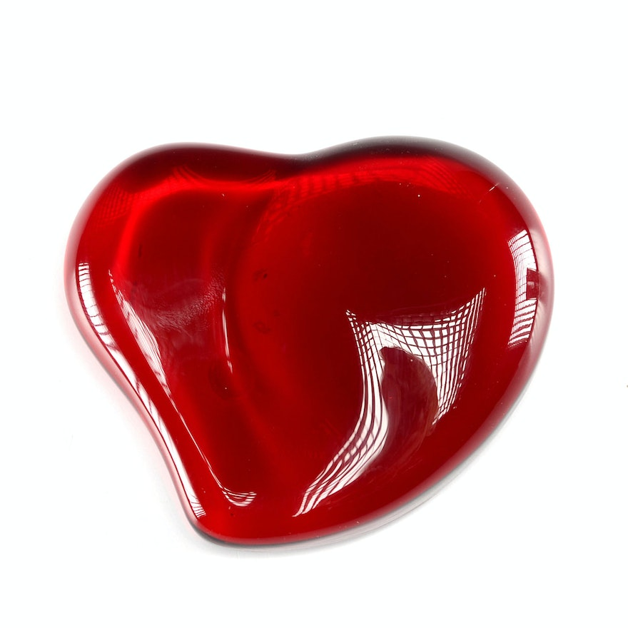598e922479a Tiffany   Co. Elsa Peretti Signed Red Heart Paperweight