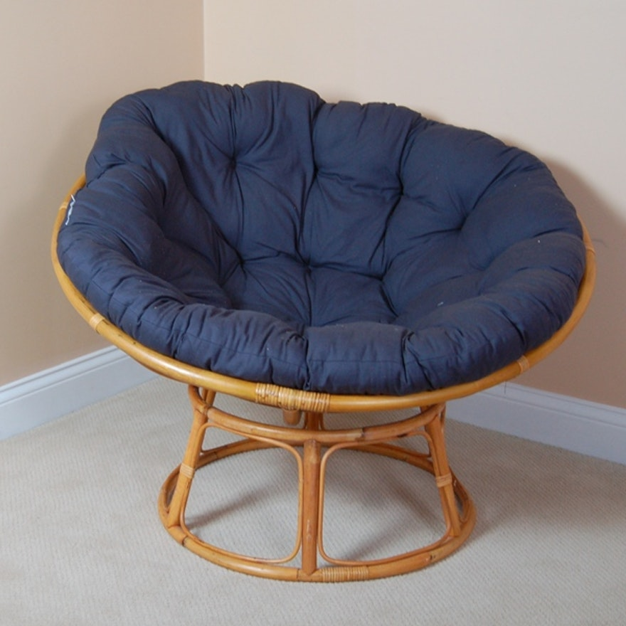 Incredible Rattan Papasan Chair Navy Cushion Onthecornerstone Fun Painted Chair Ideas Images Onthecornerstoneorg
