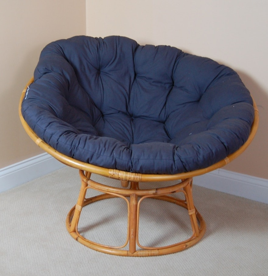 Rattan Papasan Chair Navy Cushion Ebth