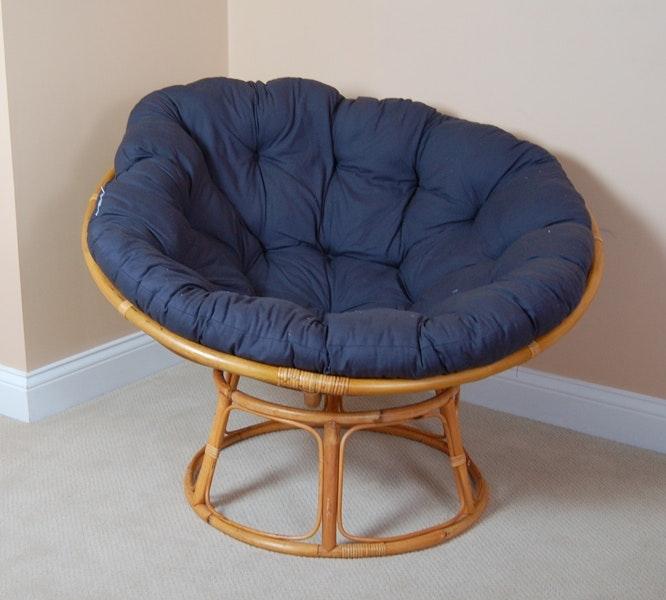 Rattan Papasan Chair Navy Cushion ...