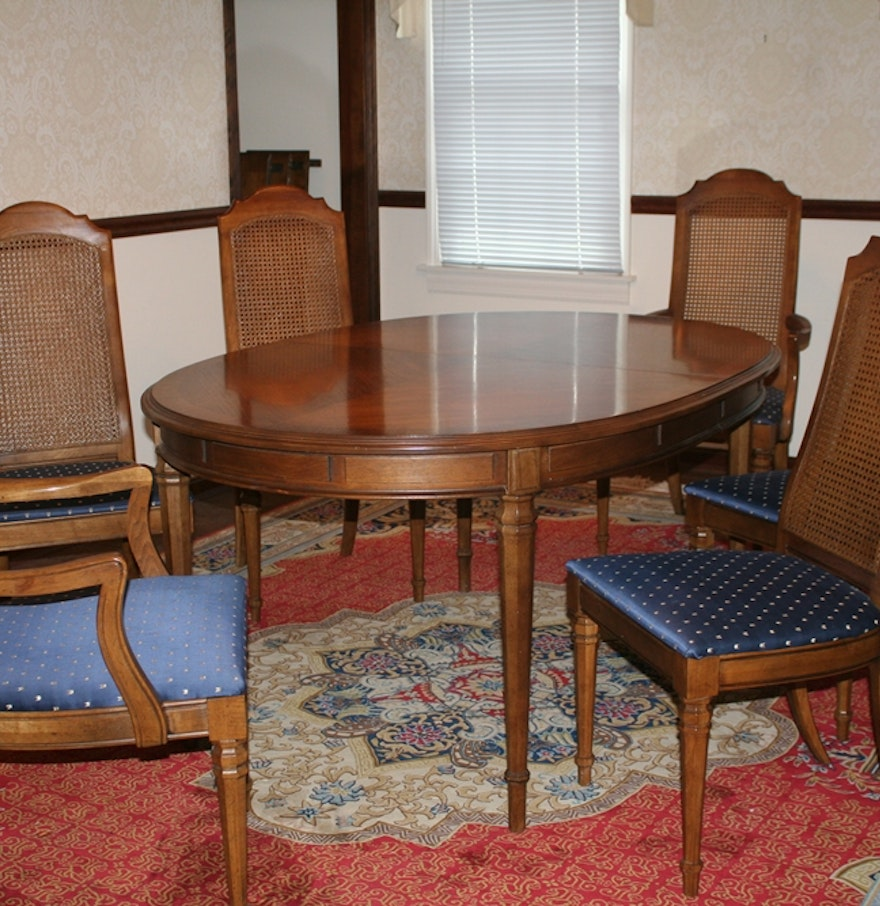 Vintage drexel dining table and chairs ebth for Classic dining tables and chairs
