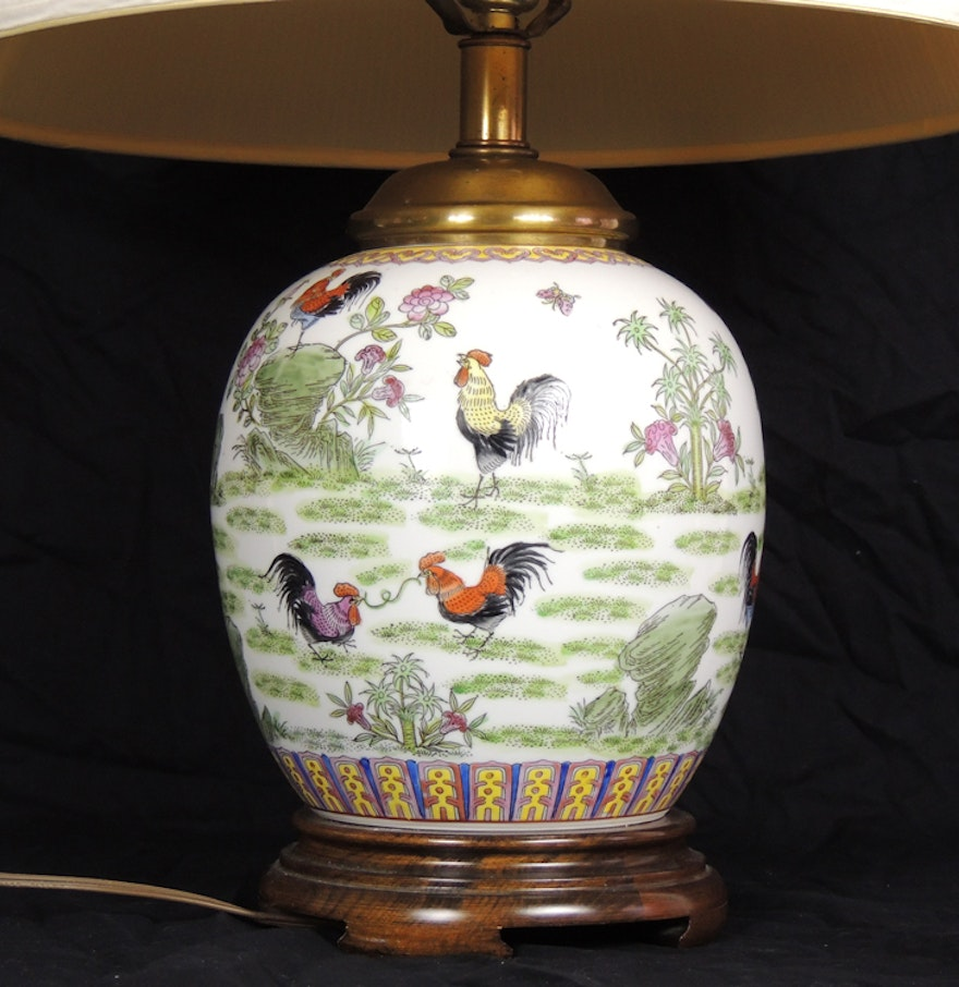 Frederick cooper porcelain rooster table lamp ebth frederick cooper porcelain rooster table lamp geotapseo Image collections