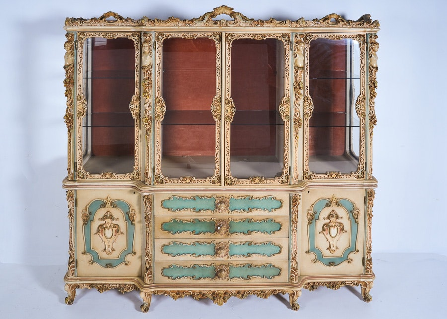 Early French Rococo Louis XV Style Reproduction China Cabinet ...