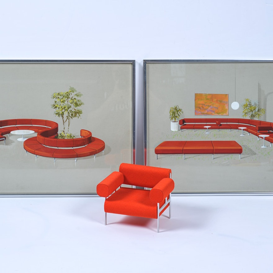 Mid Century Modern Furniture Original Renderings And