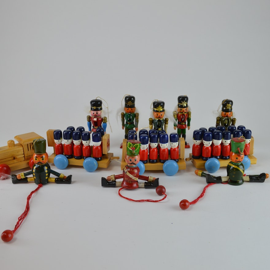 old fashioned wooden toy soldier christmas ornaments and train - Christmas Decorations Wooden Soldiers