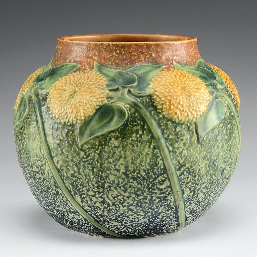Roseville Sunflower Spherical Vase Ebth
