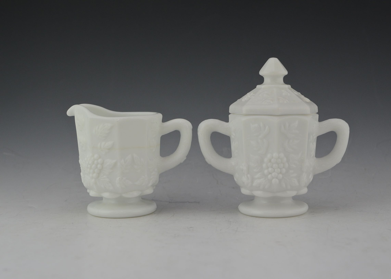 Vintage Westmoreland Milk Glass Creamer and Sugar Bowl
