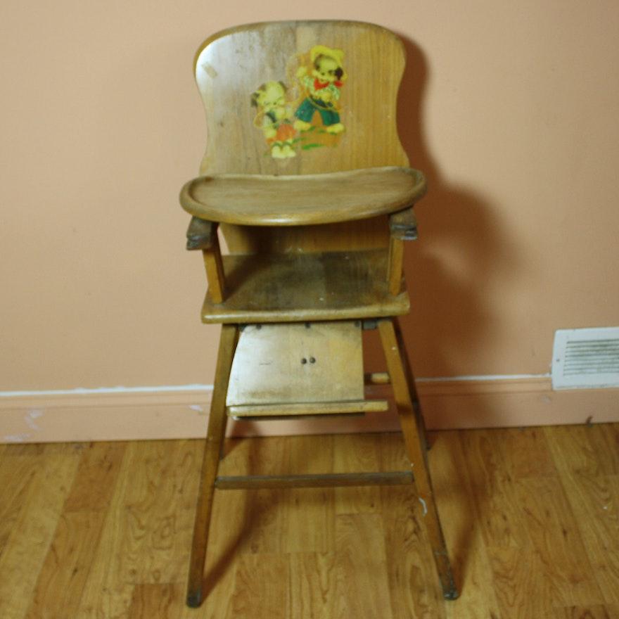 Vintage Wooden High Chair ... - Vintage Wooden High Chair : EBTH