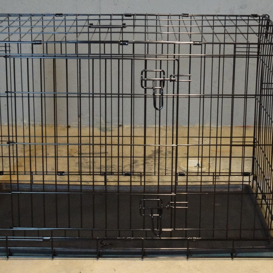 Folding Top Paw Double Door Dog Crate Ebth