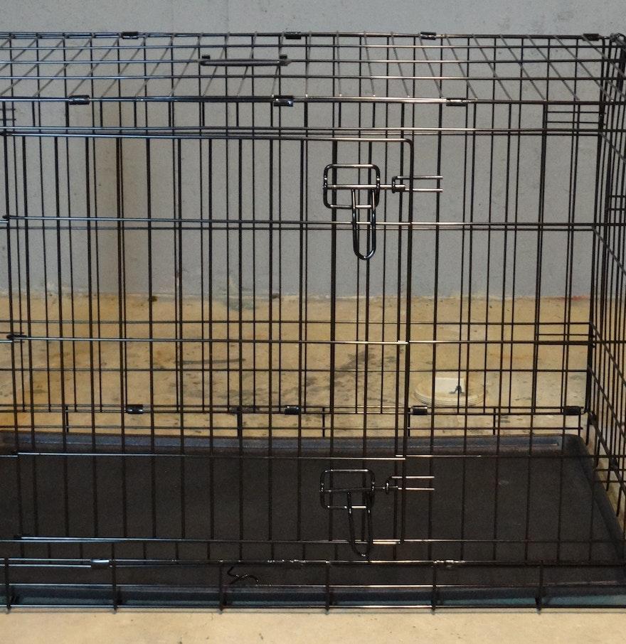 Folding top paw double door dog crate ebth for Double door with dog door