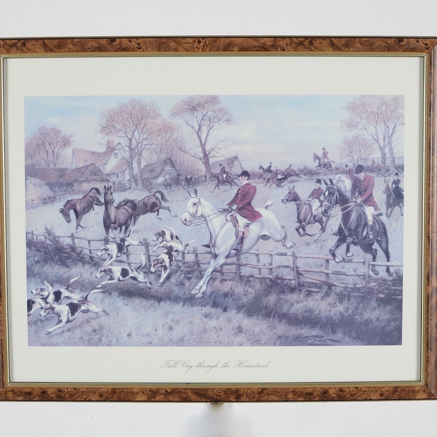 Vintage art prints art print auctions lithographs for sale in print of full cry through the homestead by george wright solutioingenieria Choice Image