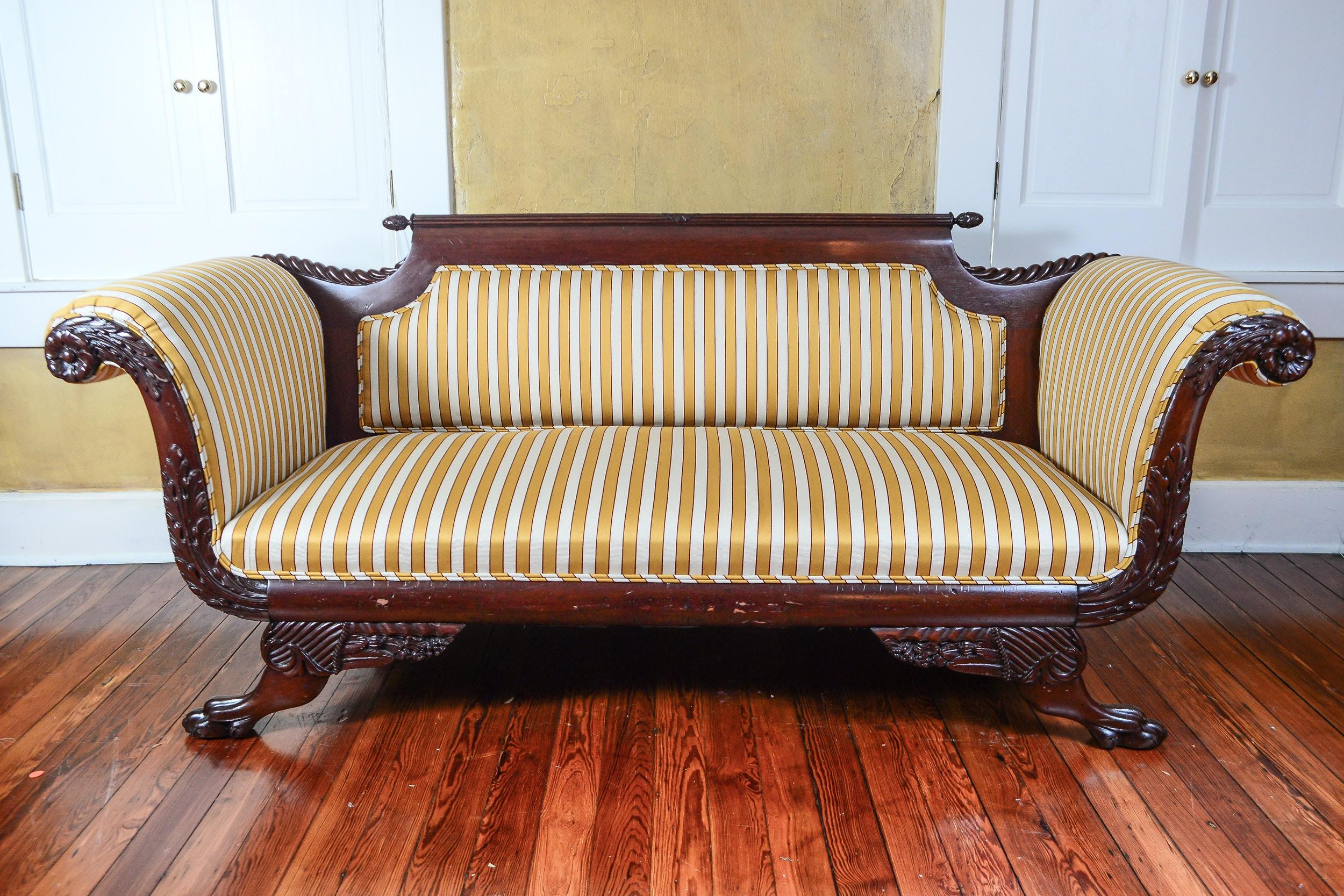 Empire Sofa antique empire sofa with carved mahogany detailing c 1825 ebth