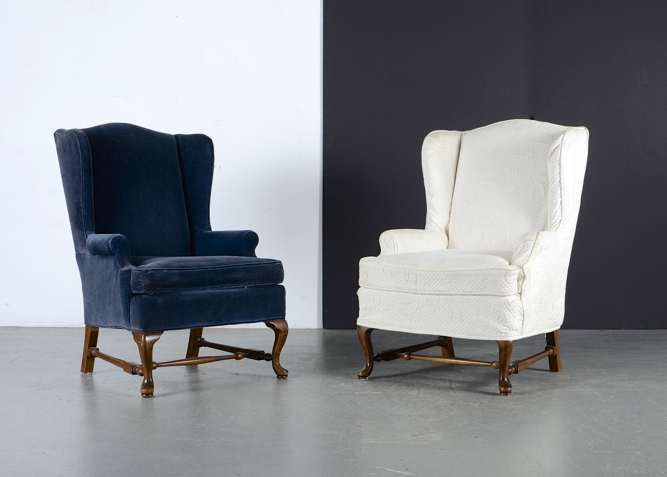 queen anne style wingback armchairs - Retro Chairs