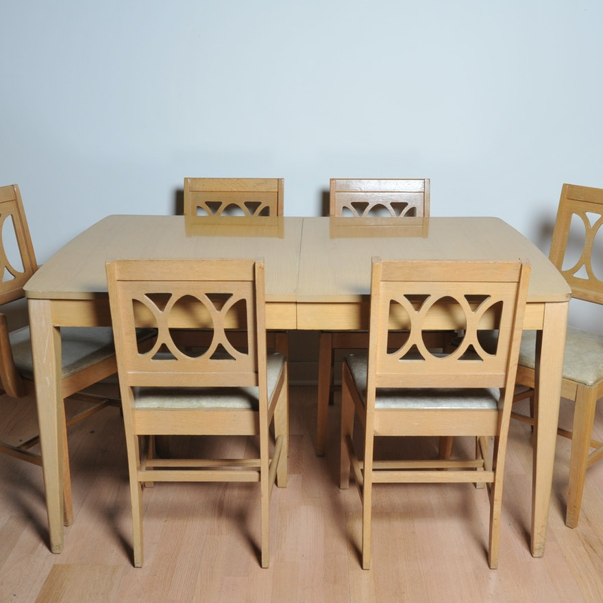 Mid Century Modern Bleached Wood Dining Table And Six Chairs EBTH - Bleached wood dining table