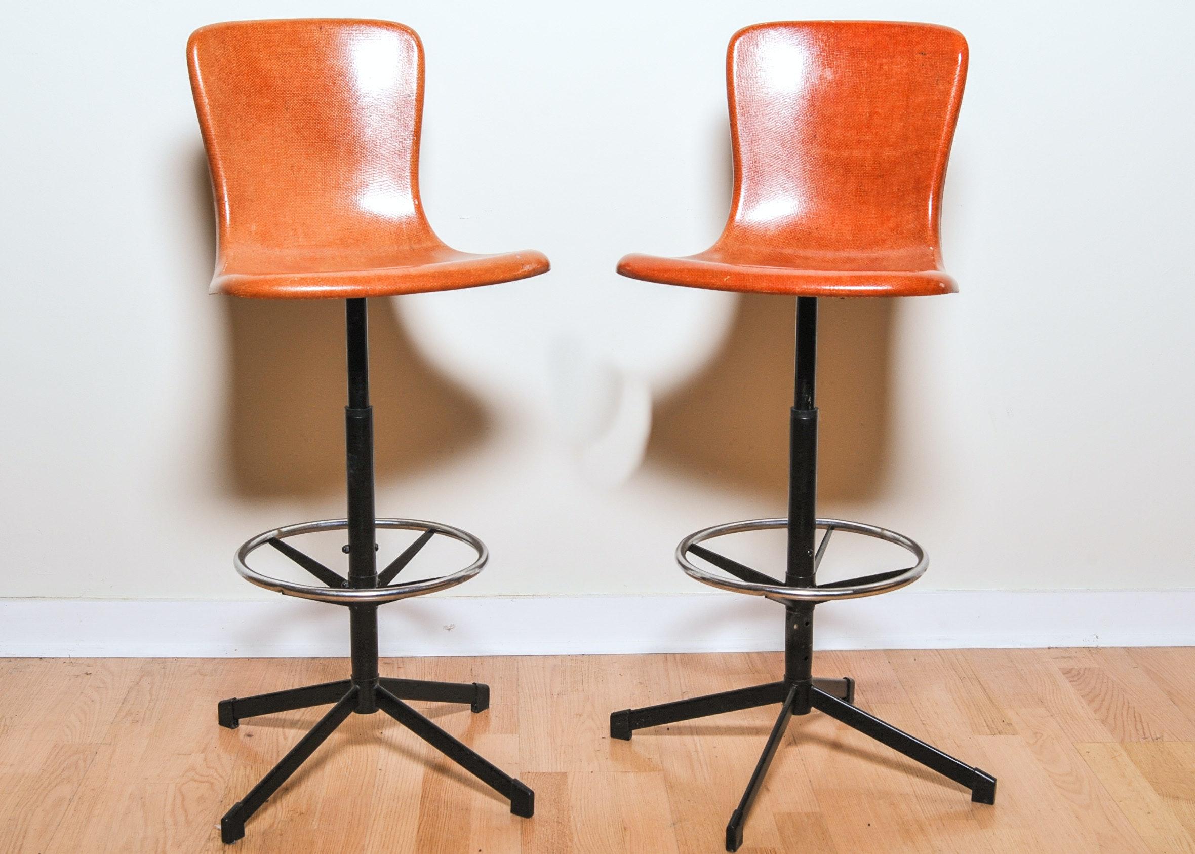 pair of midcentury fiberglass barstools - Retro Chairs