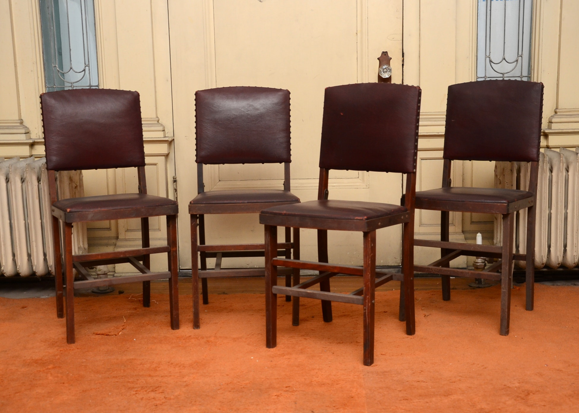 Four Vintage Folding Wooden Chairs ...