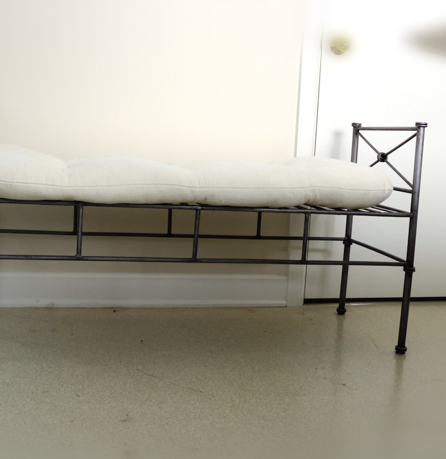 Wrought Iron Bedroom Bench with Tufted Removable Cushion  Wrought Iron  Bedroom Bench with Tufted Removable. Iron Bedroom Bench   PierPointSprings com