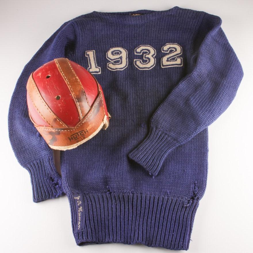 Vintage Football Sweater with Helmet   EBTH 82c8042968d2