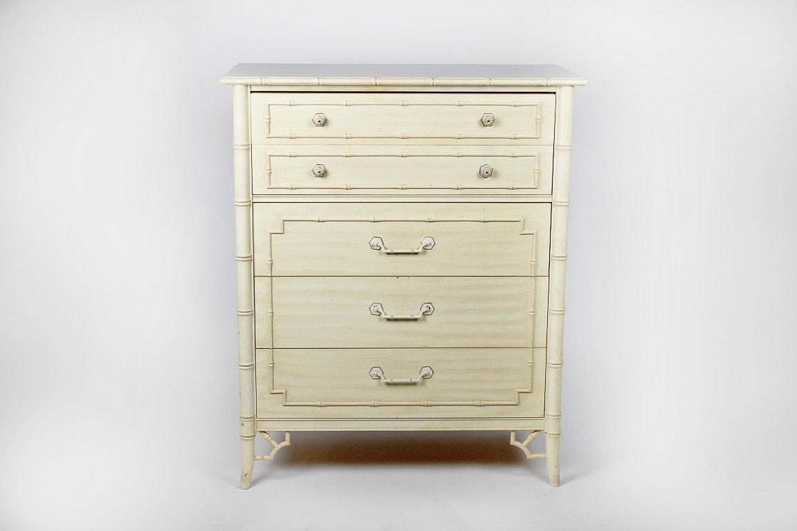 Vintage Thomasville Five Drawer Allegro Faux Bamboo Dresser ...