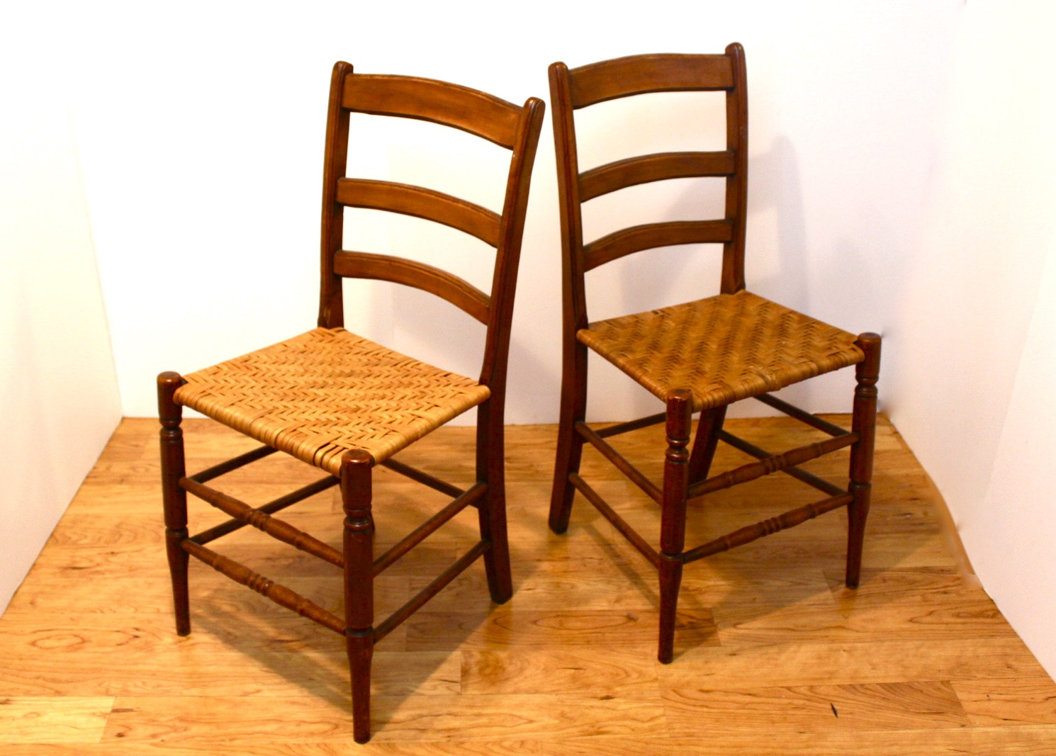 Pair Of Shaker Style Chairs With Slat Backs And Woven Seats ...