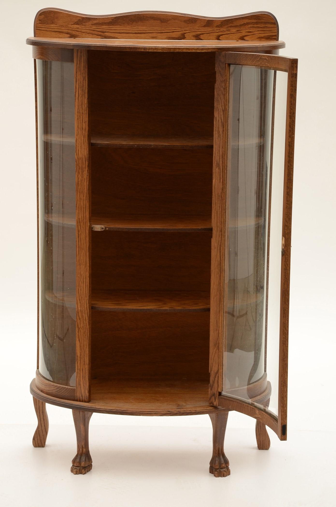 Round Front Oak Curio Cabinet Ebth