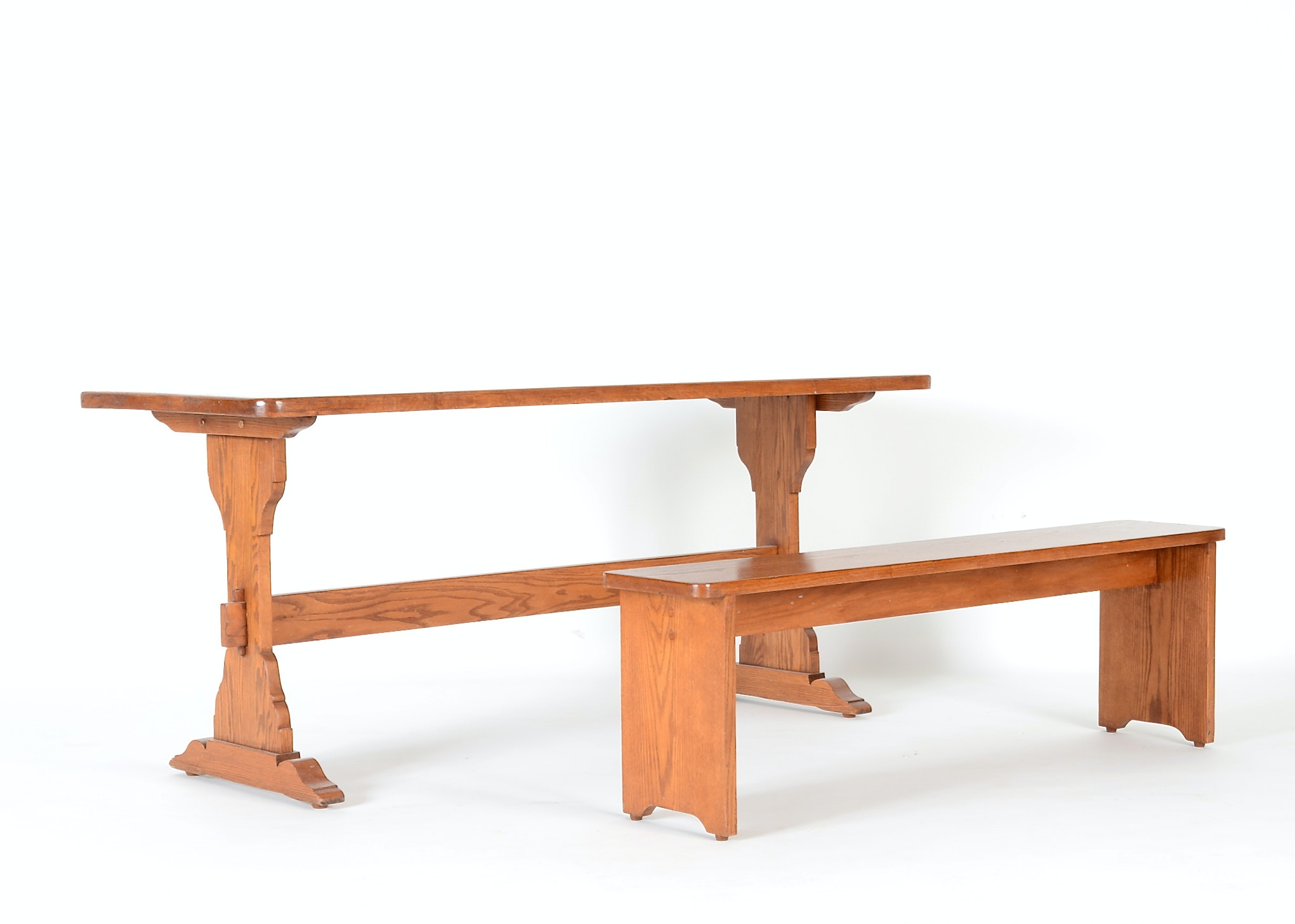 Oak Trestle Dining Table and Bench EBTH : DSC4217JPGixlibrb 11 from www.ebth.com size 880 x 906 jpeg 58kB
