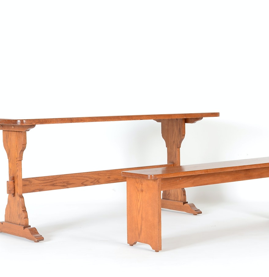 Oak Trestle Dining Table And Bench Ebth