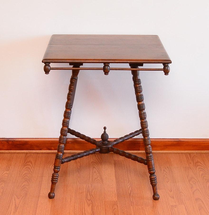 Antique square side table - Antique Square Oak Side Table