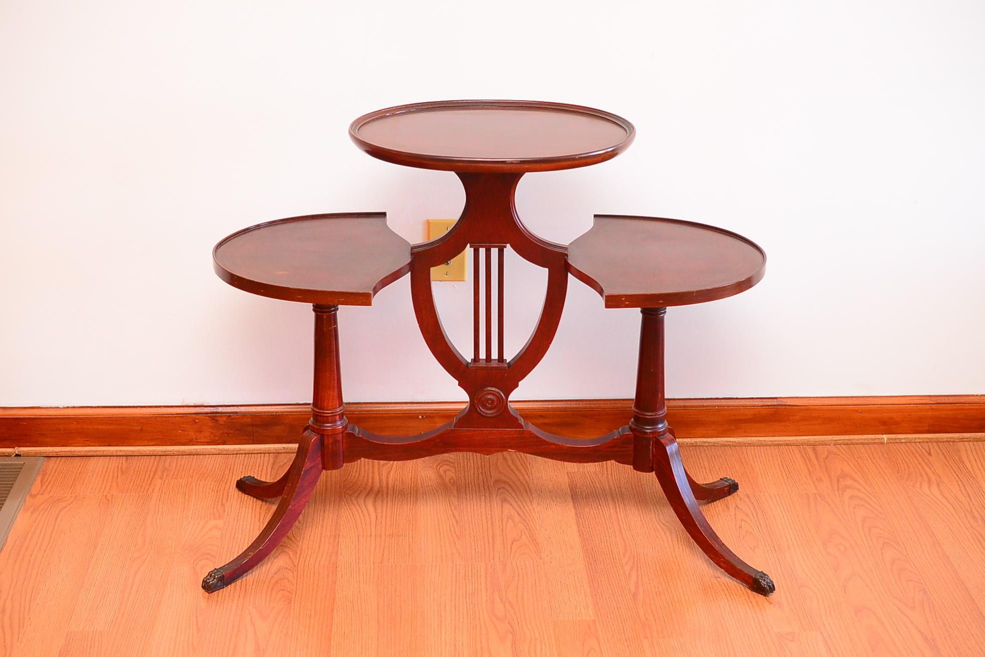 Duncan Phyfe Style Mahogany Three Tier Tea Table ...