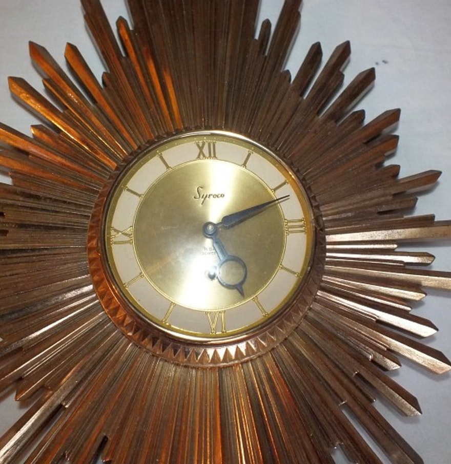 Syroco Mid Century Modern Starburst Wall Clock
