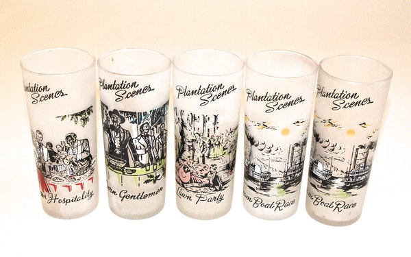 Plantation Scenes Frosted Drinking Glasses : EBTH