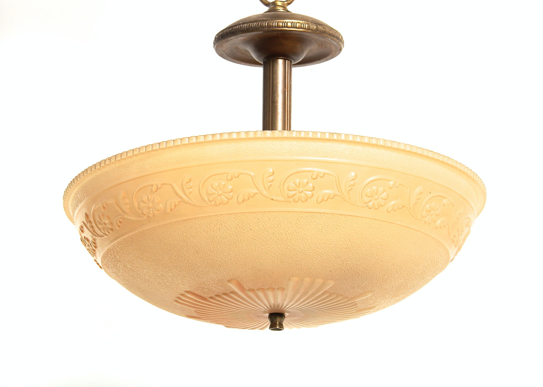 Vintage Ceiling Hanging Light Fixture With Glass Shade