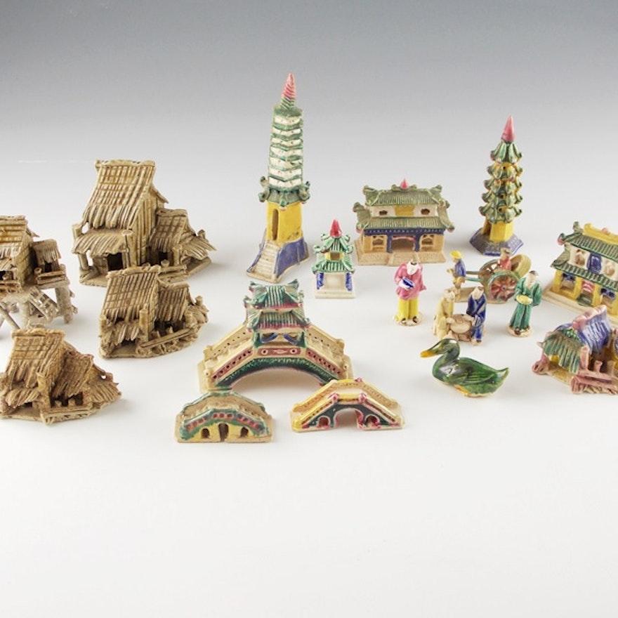 Miniature Ceramic Hand Painted Asian Buildings for Bonsai