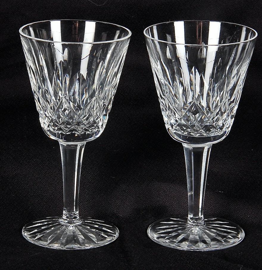 """Pair of """"Lismore"""" Pattern Waterford Crystal Wine Glasses ..."""