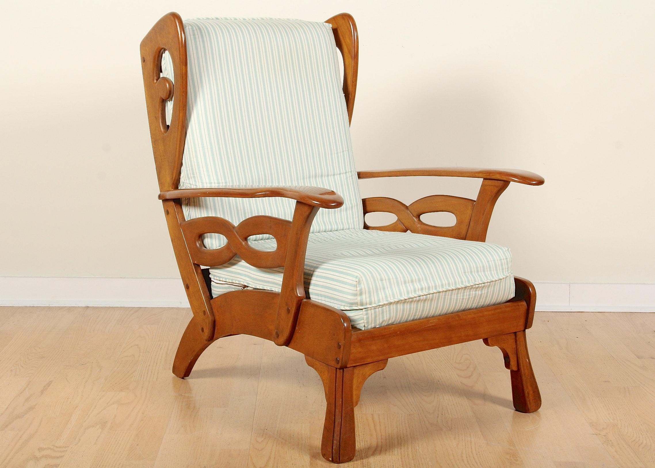 vintage wood wing back chair
