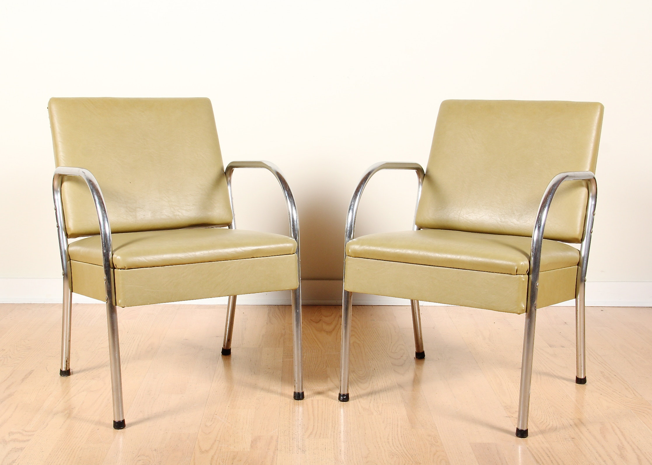 Modern Chrome And Green Naugehyde Arm Chairs