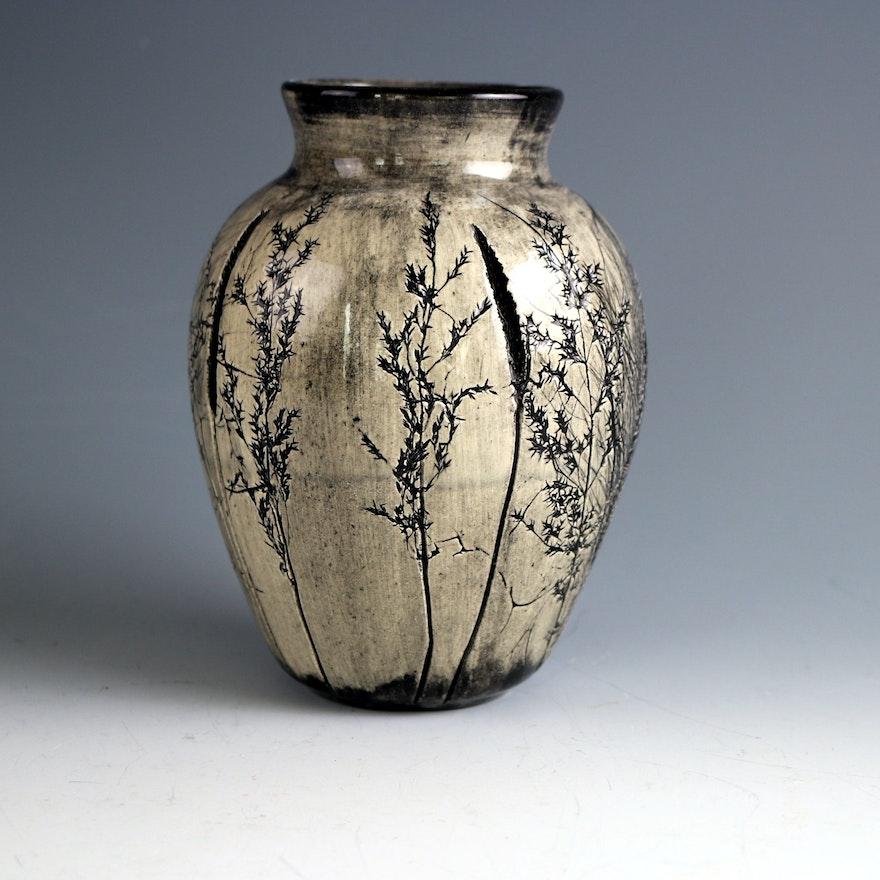 Signed Fred Devlin Handmade Pottery Vase Ebth