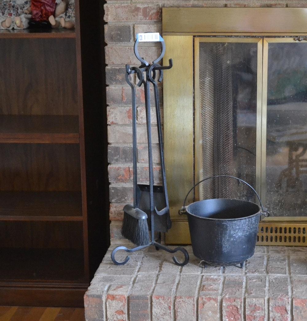 vintage cast iron fireplace tools ebth