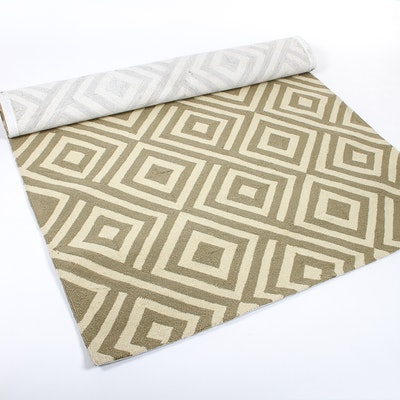 Grey And Ivory Geometric Indoor Outdoor Rug