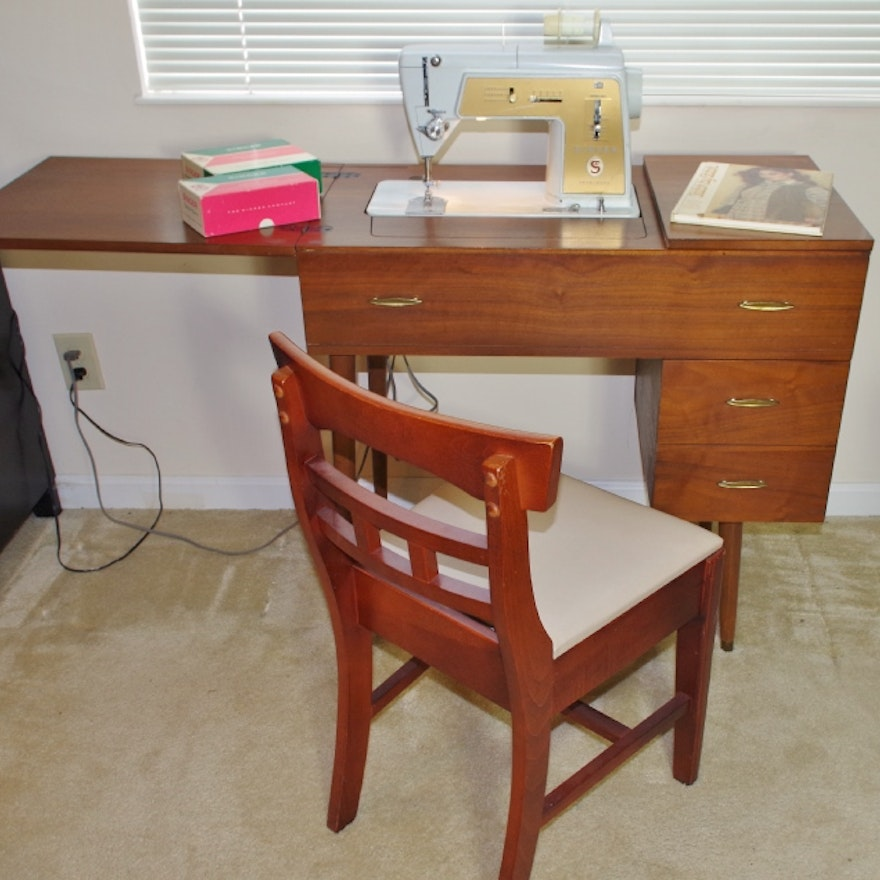 Mid Century Modern Sewing Table Chair With Singer Machine