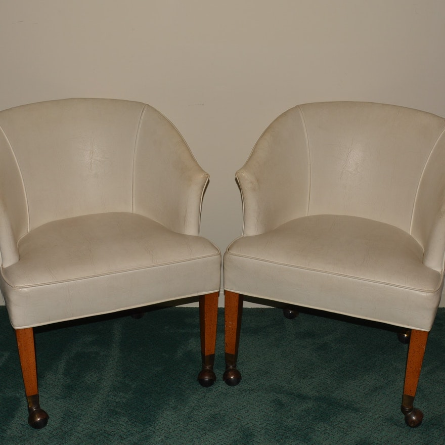 Fine Pair Of White Leather Bucket Chairs Bralicious Painted Fabric Chair Ideas Braliciousco